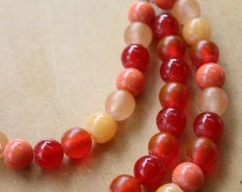 Multi-strand resin bead chain necklace