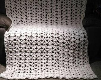 Summer throw - Homemade - Blanket - Crochet - Cream blanket - Summer Blanket - Afghan - Summer afghan - Made to order