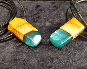 Matching wood and resin necklaces