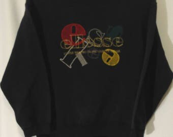 RARE!! Ellesse Perugia Italia Embroidery Spell out Big Logo Sweatshirt Jumper Pullover Sweater Medium Size
