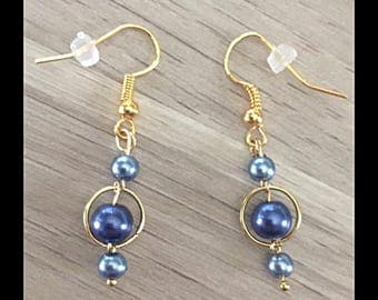 Earrings blue gray glass beads and blue.