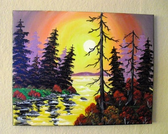 Oil painting sunset landscape paintings to Bob Ross picture dead tree