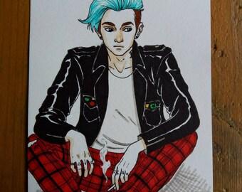 Drawing Original - young man Punk A6 Format