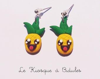Boucles d'oreilles - Ananas en fimo