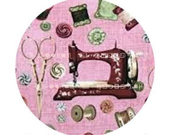 Sewing machine snap chunk pattern cabochon