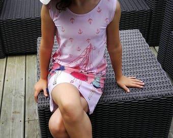 Cotton jersey Oeko-Tex Vive Navy girl's dress.