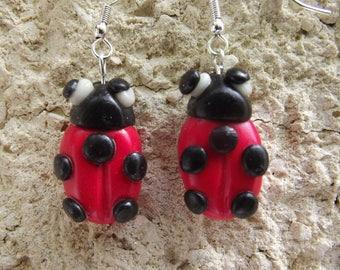 Earrings Red Ladybug effect
