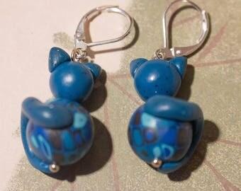 Earrings fimo blue mosaic cats.