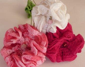 Bouquet of Carnation pink, Burgundy, white crochet
