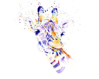 Giraffe Greeting Card Print From Original Watercolour