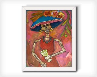 """La Catrina Day of the Dead Art Print from Original Painting """"Salute"""""""