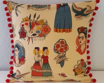 Frida Kahlo red luxury pillow cover with pom-pom trim