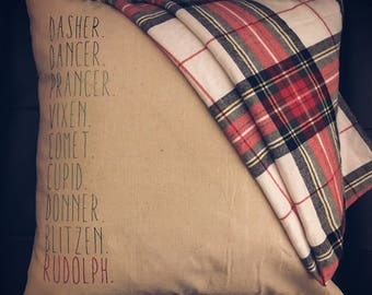 Reindeer names pillow