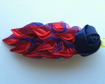 Stunning Red and Blue Satin and Organza Flower and Leaves 11.5 cm Hair Clip