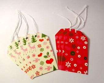 Set of 7 tags tags Christmas theme - 2 designs - embellishments