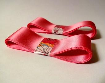2 ribbons - width 2.5 cm - pink - scrapbooking embellishment, sewing