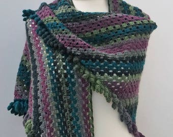Shawl crocheted fringe gift Handmade wool Schoppel smoking era