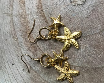 Gold Earrings with starfish