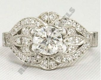 Regaalia Jewels 2.5 Round Diamond Antique Vintage Wedding Ring Jewelry in 14k White Gold Over All Size Available FREE SHIPPING