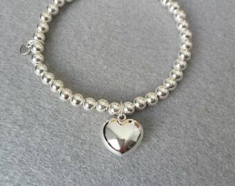 Heart Sterling Silver Stretch Bead Bracelet, Stretch Bracelet,  stacking bracelet, silver bead bracelet, bead bracelet, silver ball bracelet