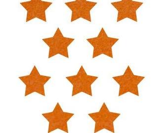 10 stars hot-melt 15x15mm orange Velvet