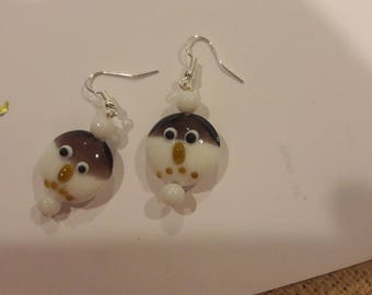 Snowman face with white beaded earrings
