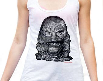 Creature black lagoon horror vest from my original collection ( gift for horror movie fan,Gothic,horror fan,universal monsters,gift for her)
