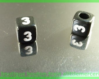 number 3 cube bead 7 mm black and white plastic