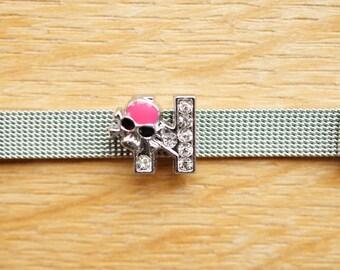 busy letter N alphabet bracelet fuchsia skull bead