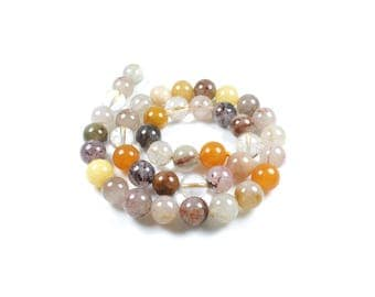 5 Quartz Inclusions LBP00149 10mm natural beads