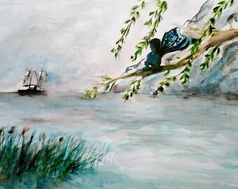 """Little fairy and ocean"" watercolor art on paper 30 * 40 cm unframed"