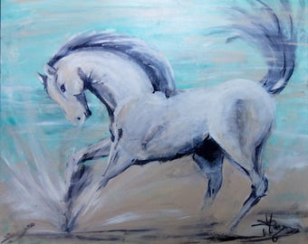 "Acrylic painting, ""The horse player"", acrylic on canvas 65 * 54 cm"