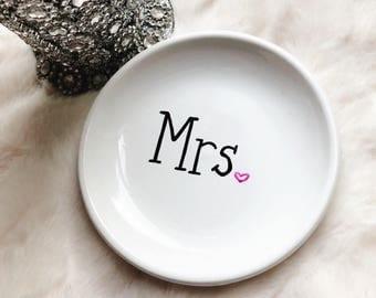 Mrs. Ring Dish   Ring Holder   Jewelry Holder   Hand Lettered   Gift For Her   Bride Gift   Wedding Gift