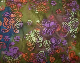 Fabric C432 Batik butterflies on green coupon 35x50cm
