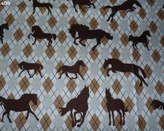 Fabric background diamonds 409 horses coupon 34x50cm Brown/gray