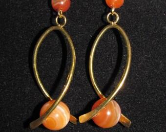 Orange agate in twist earrings