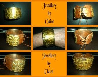 Celtic polymer clay leather look wrist cuff