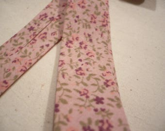 """bias cotton color """"old rose"""" liberty green roses flowers and Burgundy width 2 cm folded"""