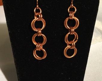 Copper Chainmaile Dangle Earrings