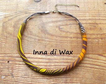 Maasai style necklace made of wax (African fabric) 22011