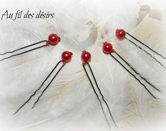 5 hair pins with red glass - special wedding bead