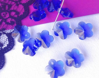 SWAROVSKI Crystal beads blue flower 14 x 12 mm (T54)