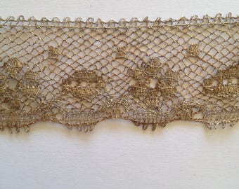 Vintage lace, antique silver metal wire