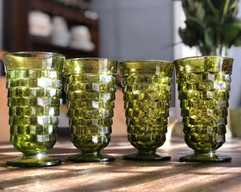 Set of 4 avocado green Whitehall Colony Footed Glasses