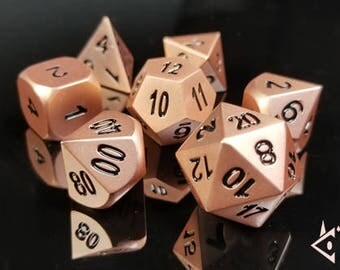 """D&D Metal Dice Set """"Rose Dragon"""" DnD dice Polyhedral dice Heavy Gothic RPG Dungeons and Dragons dice set Critical Role Roll Satin Rose Gold"""