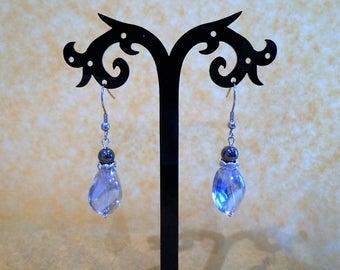 Blue glass, hematite and rhinestone earrings