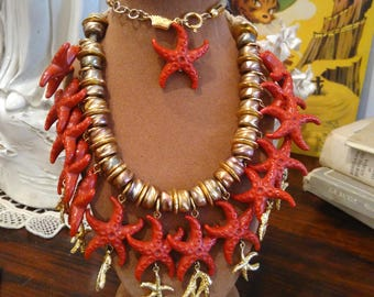 Vintage NECKLACE with starfish and gold base years ' 80
