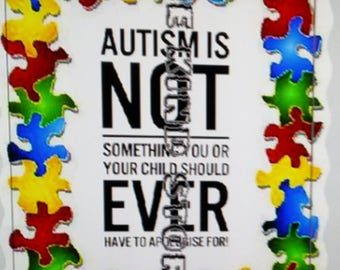Autism puzzle piece border iron-on