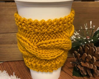 Hand Knit Cabled Cup Cozy