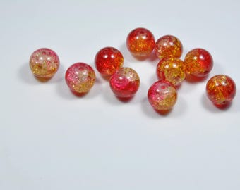 PE372 - Set of 10 red and yellow 12mm glass Crackle beads